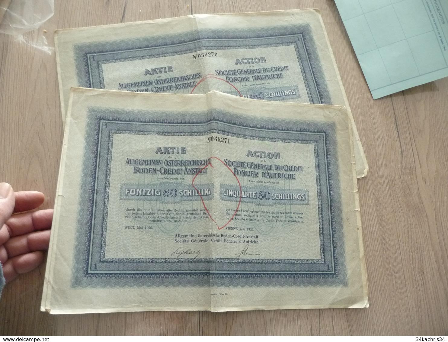 Action X 2 Crédit Foncier D'Autriche 1926 - Banque & Assurance