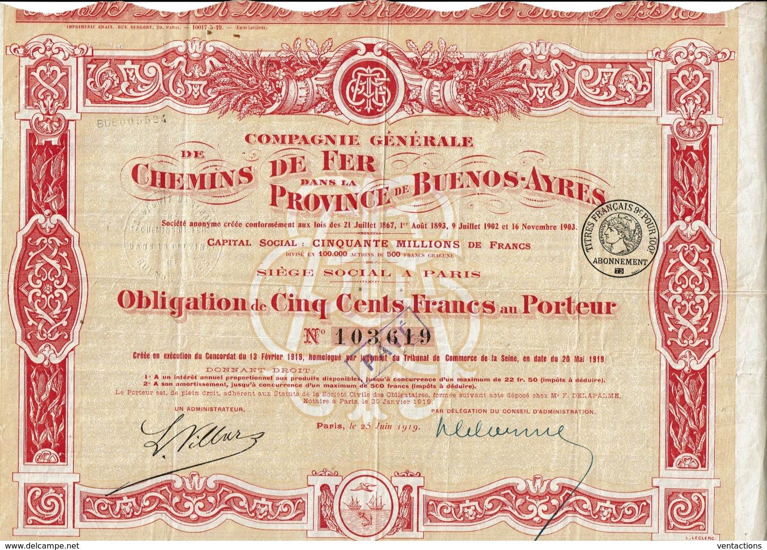 ARGENTINE-CHEMINS DE FER DANS LA PROVINCE DE BUENOS AYRES. Obligation 1919 - Shareholdings