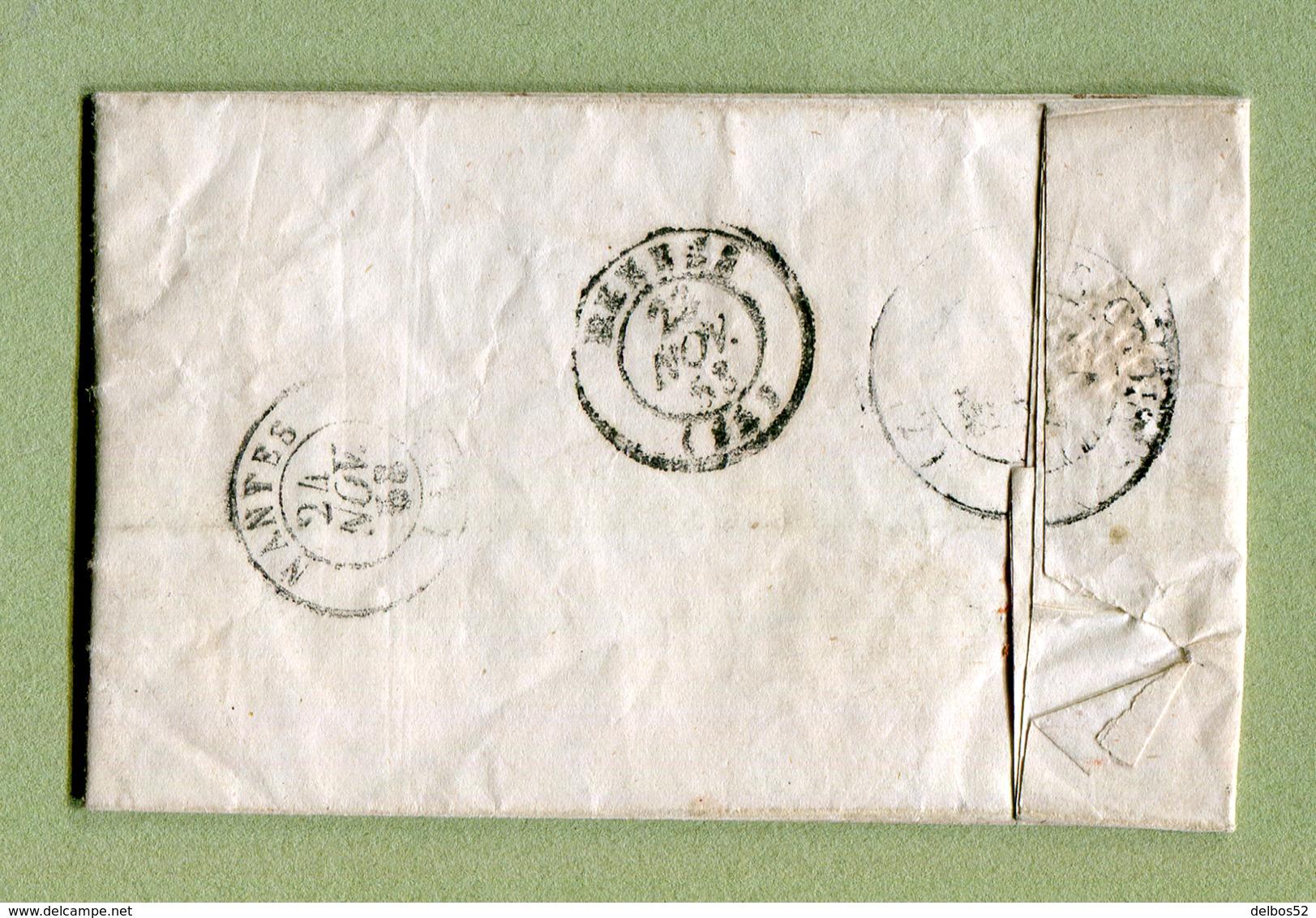 CHERBOURG  Pour  LE CROISIC  : Taxe à 25  (1853)  Catégorie : MARINE - Marcophilie (Lettres)