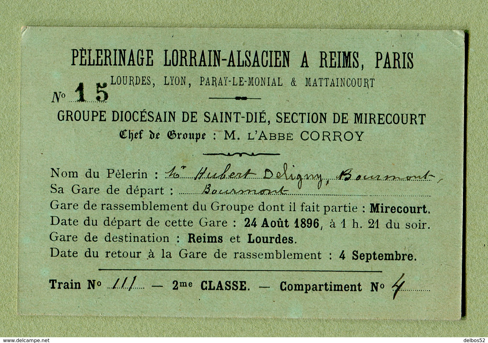 """"""" PELERINAGE LORRAIN-ALSACIEN A REIMS """" Groupe De SAINT-DIE - MIRECOURT  (1896) - Titres De Transport"""