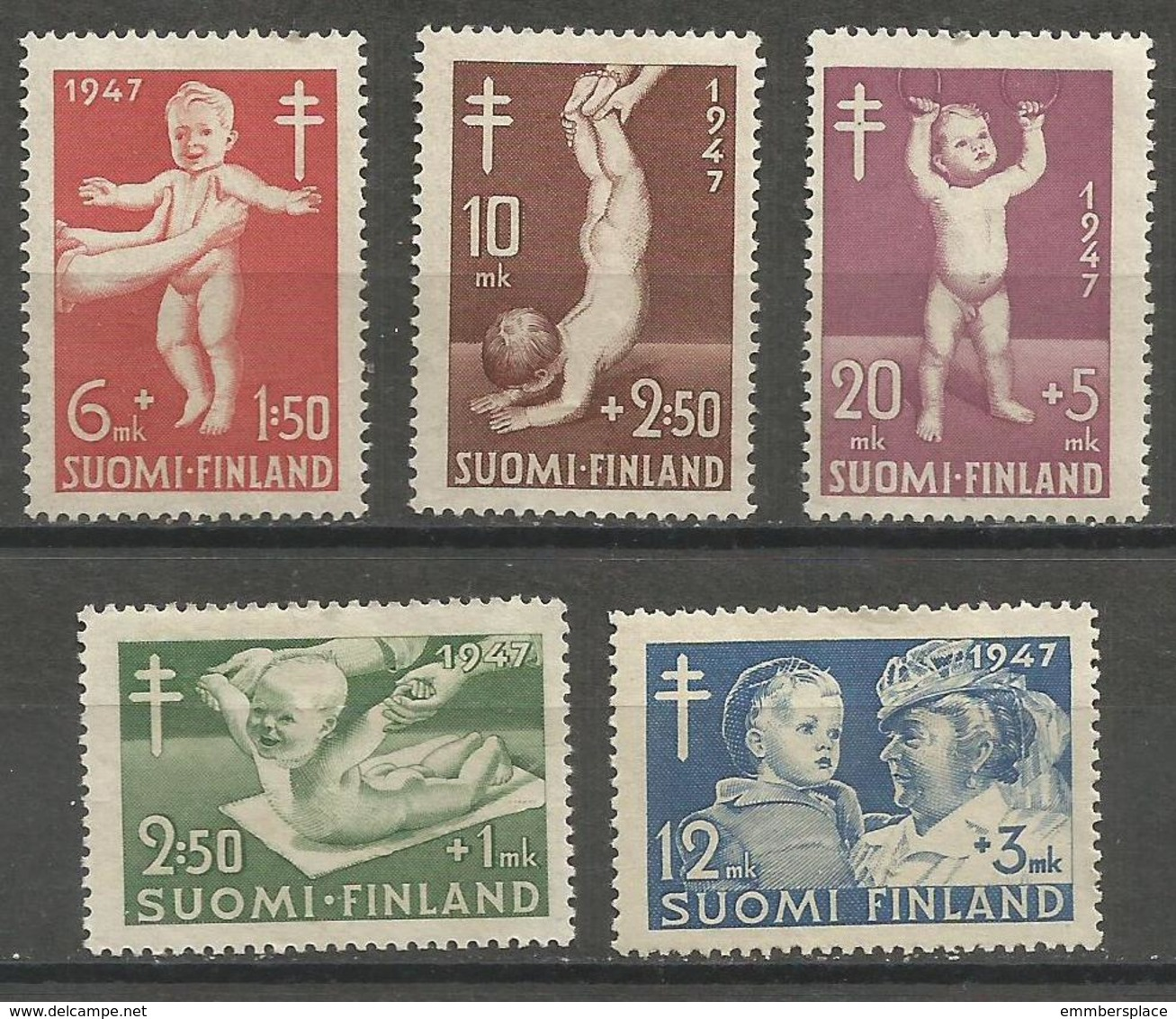 Finland - 1947 TB Campaign MNH **  Sc B82-6 - Unused Stamps