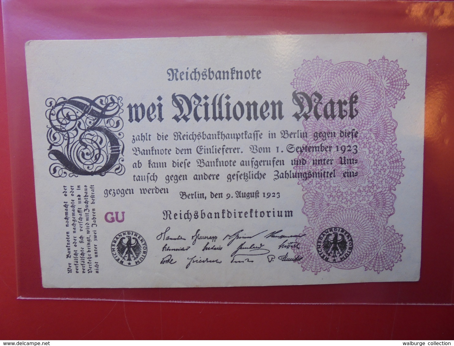 Reichsbanknote 2 MILLIONEN MARK 1923 VARIETE N°2 - [ 3] 1918-1933: Weimarrepubliek