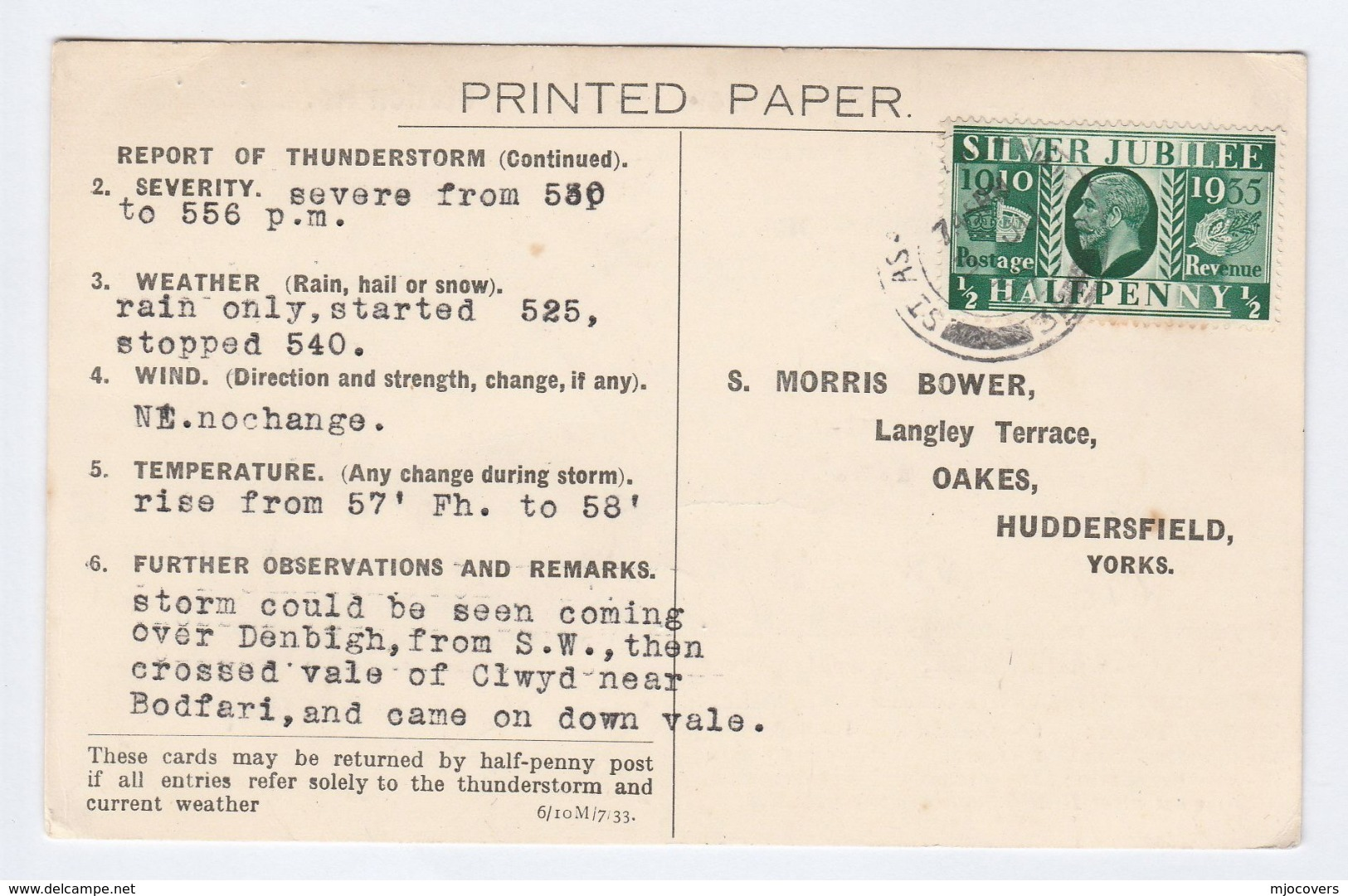 1935 COVER METEOROLOGY Report WEATHER STATION Re  DENBIGH  BODFARI THUNDERSTORM  Postcard  Gb Gv Stamps - 1902-1951 (Kings)