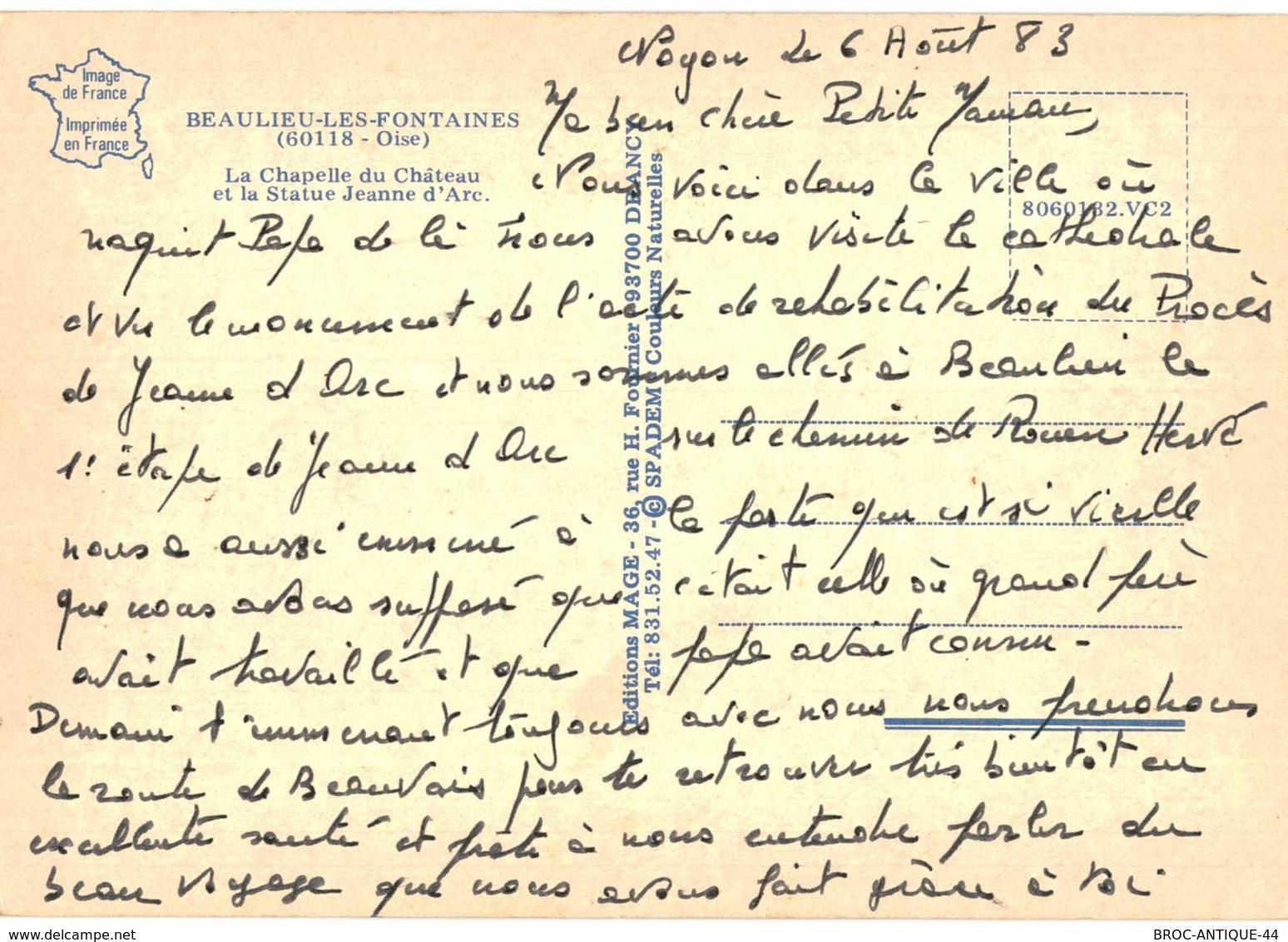 CPM* N°2266 - BEAULIEU-LES-FONTAINES - CHAPELLE DU CHATEAU ET STATUE JEANNE D' ARC - France