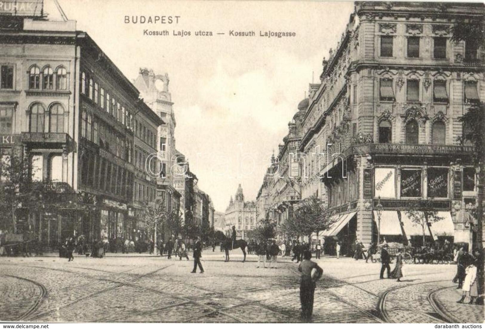 * T1/T2 Budapest V. Kossuth Lajos Utca, Berényi és Frankl üzlete - Cartes Postales
