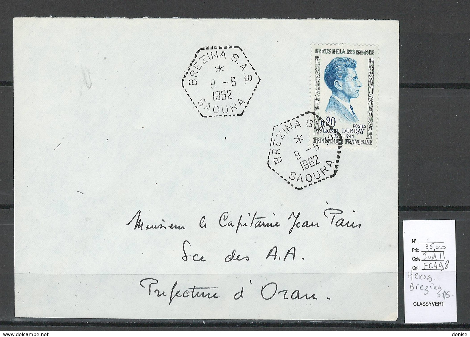 Algerie - Lettre  - Cachet Hexagonal BREZINA SAS -  Marcophilie - Algeria (1924-1962)