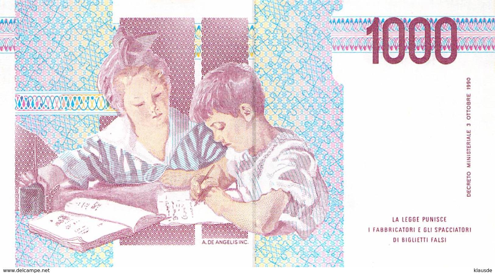 1000 Lire Italien 1990 - [ 2] 1946-… : République