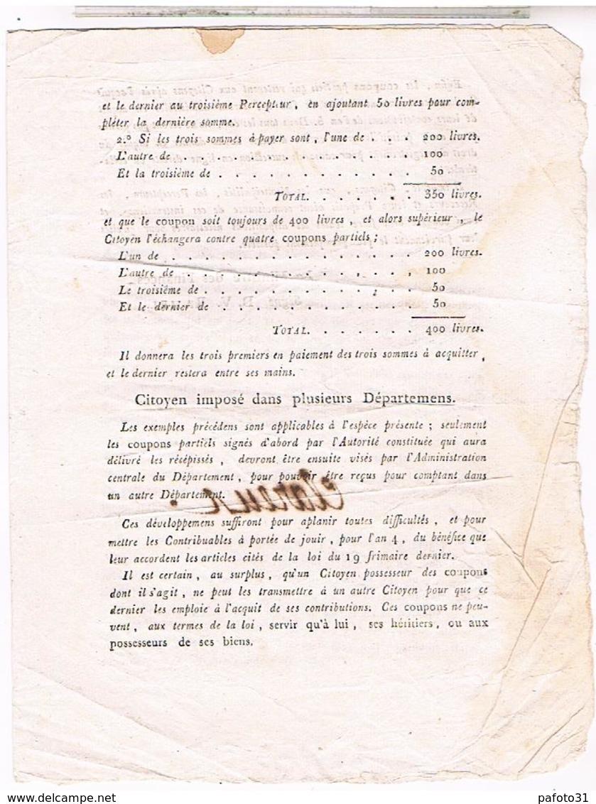 LOI Du 19 Frimaire An 4 1796 Remboursement Emprunt Force - Décrets & Lois