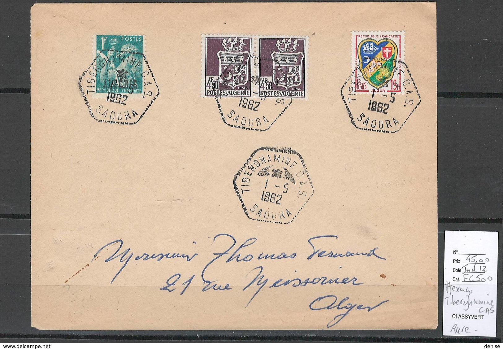 Algerie - Lettre  - Cachet Hexagonal TIBERGHAMINE CAS -  Marcophilie - Covers & Documents