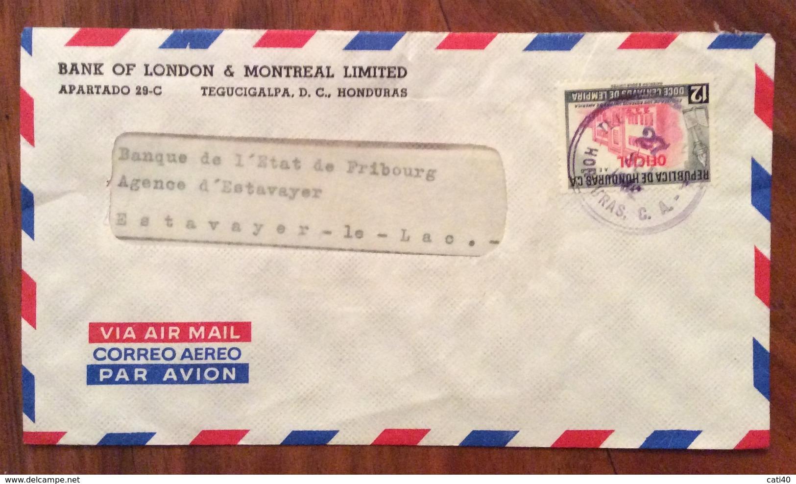 POSTA AEREA PAR AVION  HONDURAS  SUISSE   FROM  TEGUGIGALPA  TO  FRIBURGO  THE  27/9/62 - Honduras
