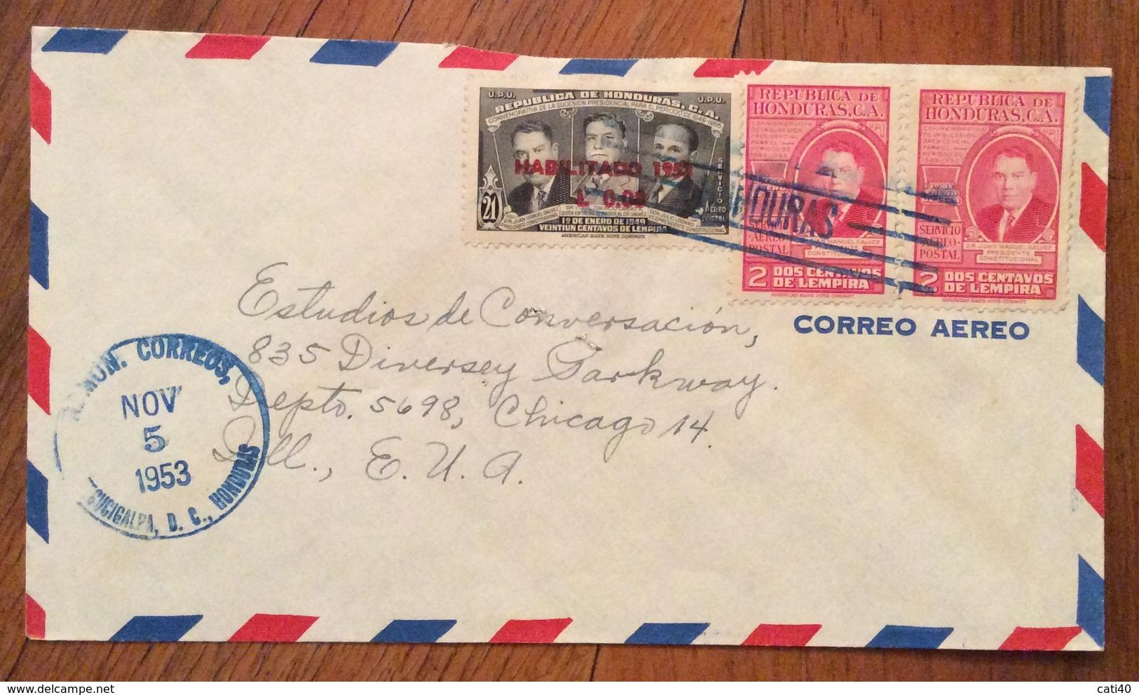 POSTA AEREA PAR AVION  HONDURAS  U.S.A.   FROM  TAGUCIGALPA   TO CHICAGO  THE  5/11/53 - Honduras
