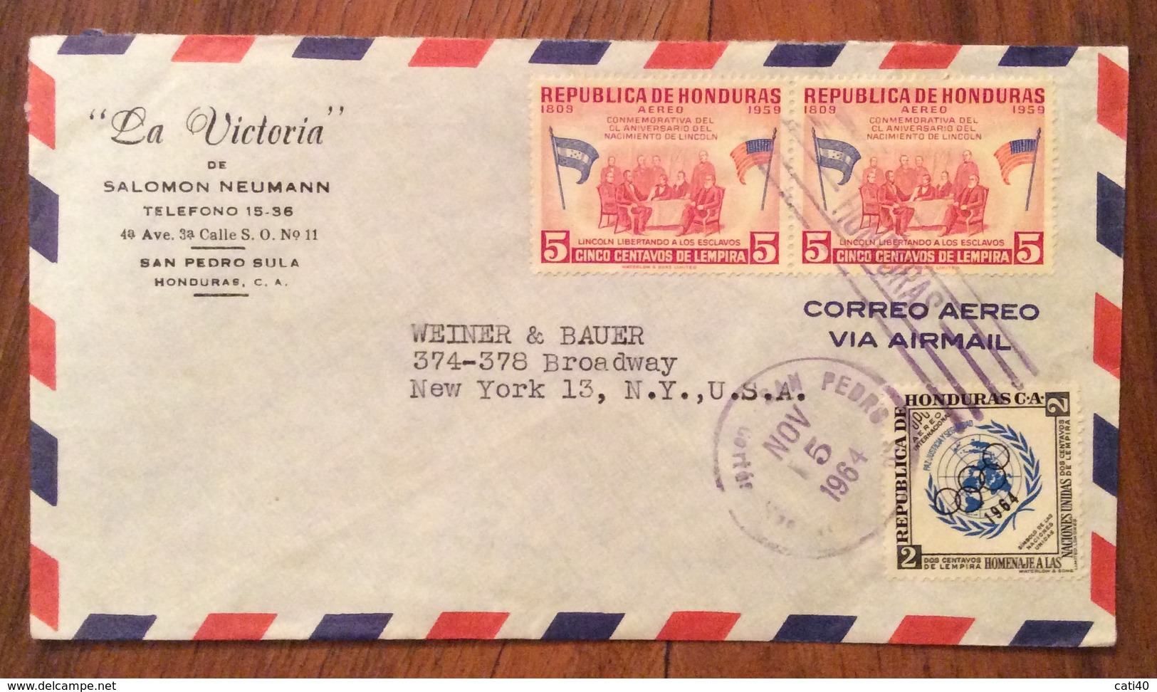 POSTA AEREA  PAR AVION  HONDURAS  U.S.A  FROM SAN PEDRO SULA  TO NEW YORK   THE  15/11/64 - Honduras