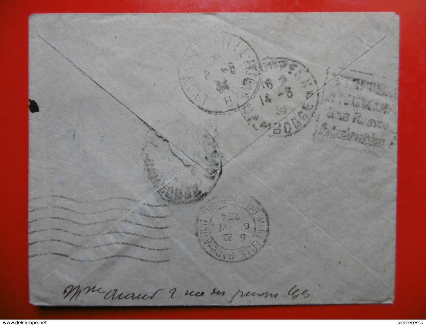 LETTRE PAR AVION CACHET UZES TIMBRES TYPES PAIX VIA KAMPONG CHAM CAMBODGE 1934 Verso A Voir - Marcophilie (Lettres)