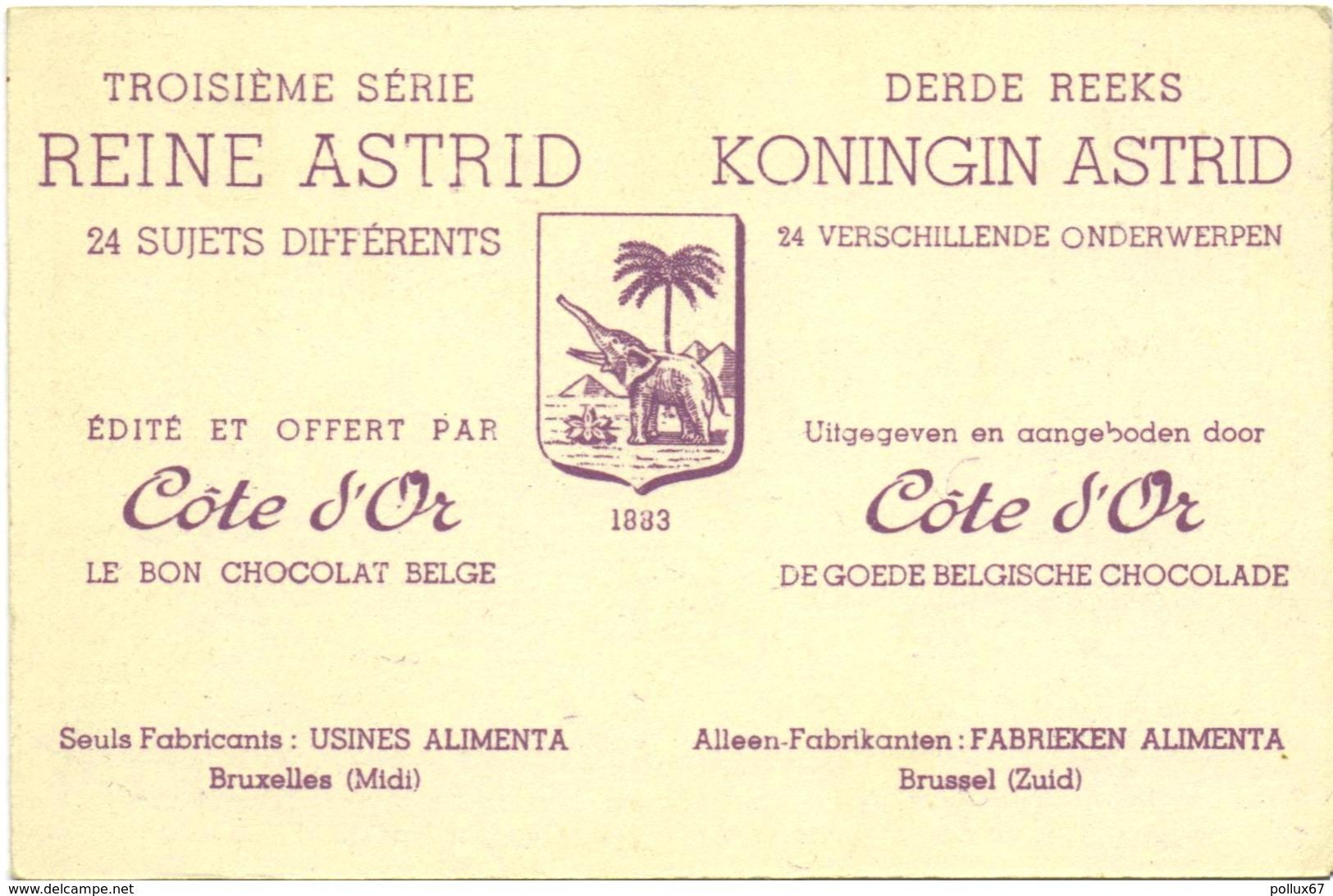 CARTE IMAGE PUBLICITAIRE CHOCOLAT CÔTE D'OR. TROISIEME SERIE : REINE ASTRID N° 12 - Cioccolato