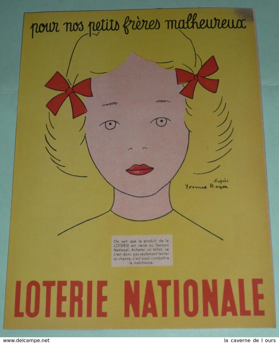 Rare Ancien Protège-cahier Publicitaire Le Petit Parisien/Loterie Nationale, WW2 1941-42, D'après René Ravo Yvonne Roger - Protège-cahiers