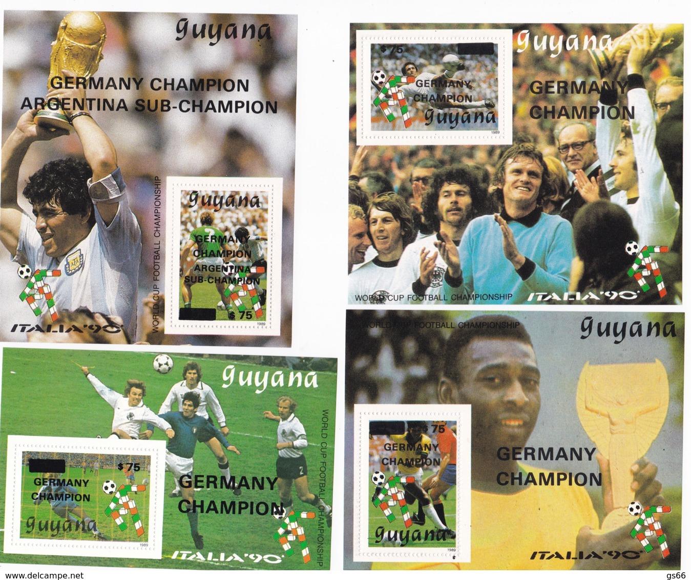 Guyana, 1991, 3489/92 Block 119/22, Gewinner Der Fußball-Weltmeisterschaft 1990, Italien. MNH ** - Guyana (1966-...)