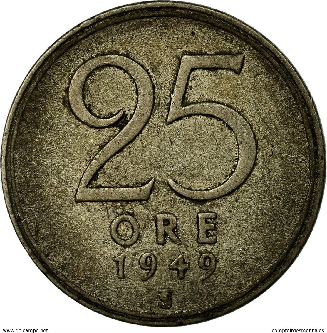 Monnaie, Suède, Gustaf V, 25 Öre, 1949, TB+, Argent, KM:816 - Suède