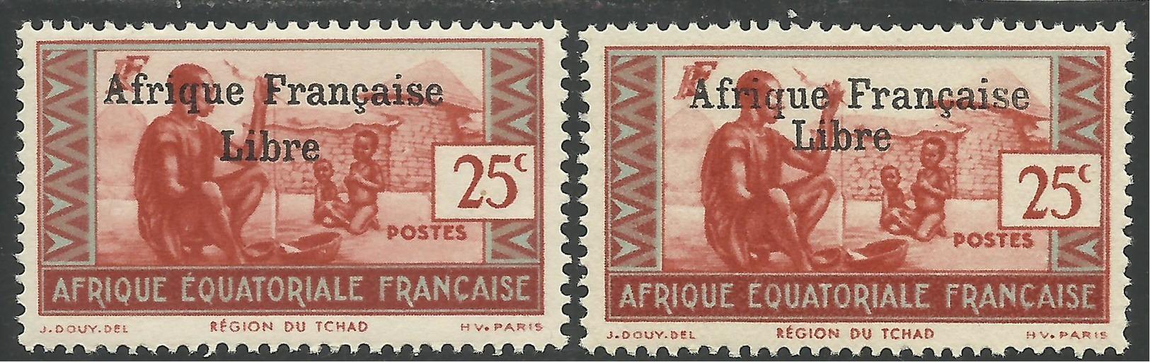 AFRIQUE EQUATORIALE FRANCAISE - AEF - A.E.F. - 1941 - YT 163** - VARIETE SURCHARGE ESPACEE DE 3,5 Mm - Neufs