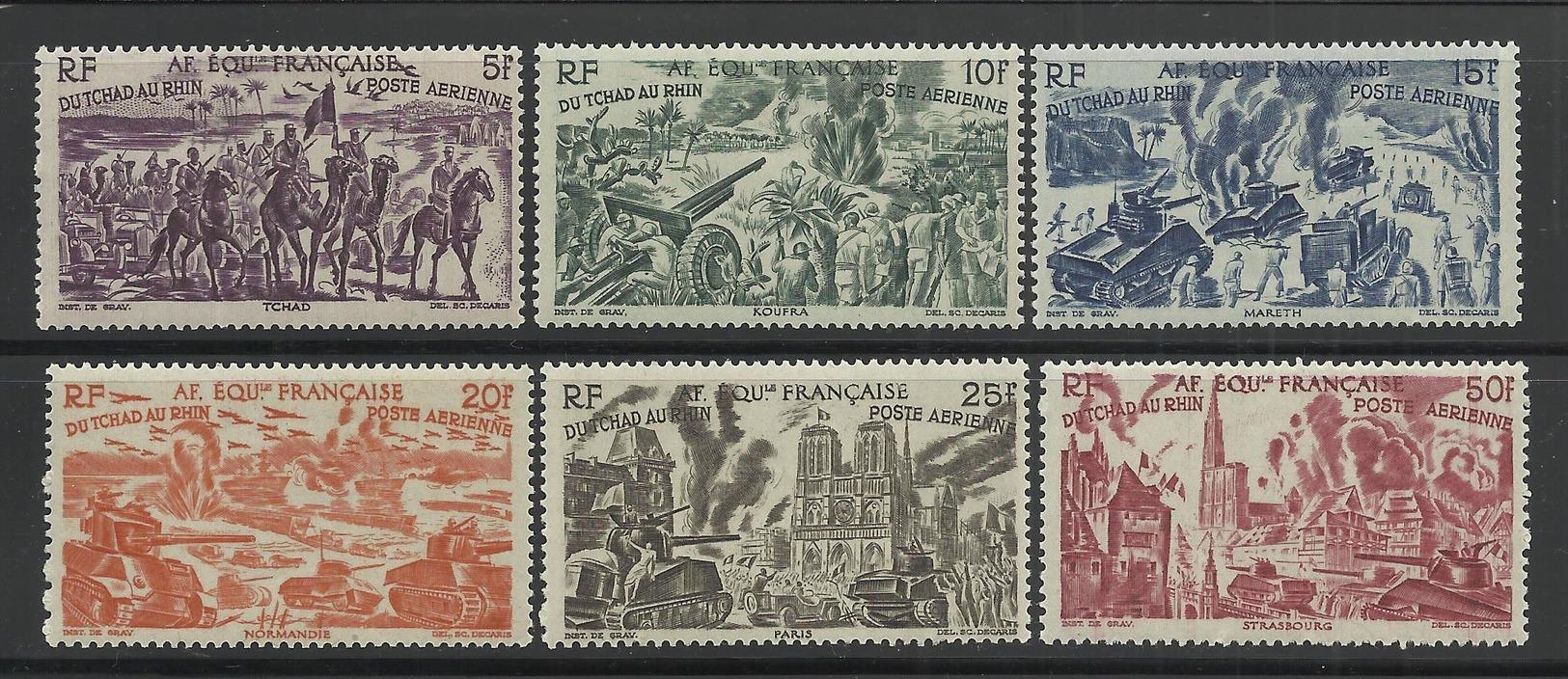 AFRIQUE EQUATORIALE FRANCAISE - AEF - A.E.F. - 1946 - YT PA 44/49** - SERIE COMPLETE - Neufs