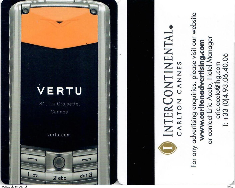 InterContinental Carlton Cannes - Vertu    --Hotel Room Keycard, Room Keys, Hotelkarte, Clef De Hotel-- - Hotel Keycards