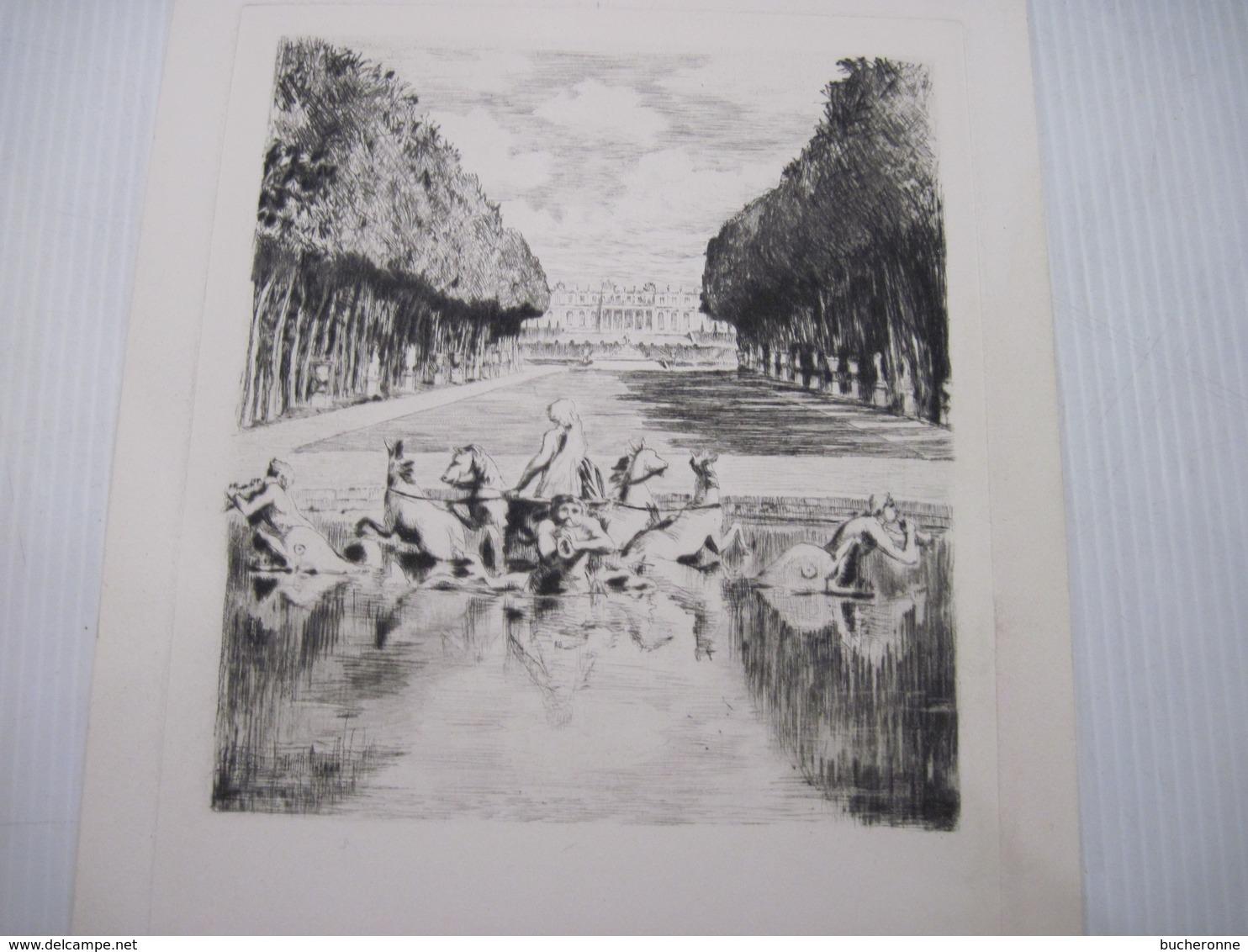 4 Gravures Estampe Fontaine Du Chateau De Versailles Dessin 13.5 X 12 Cm - Prints & Engravings