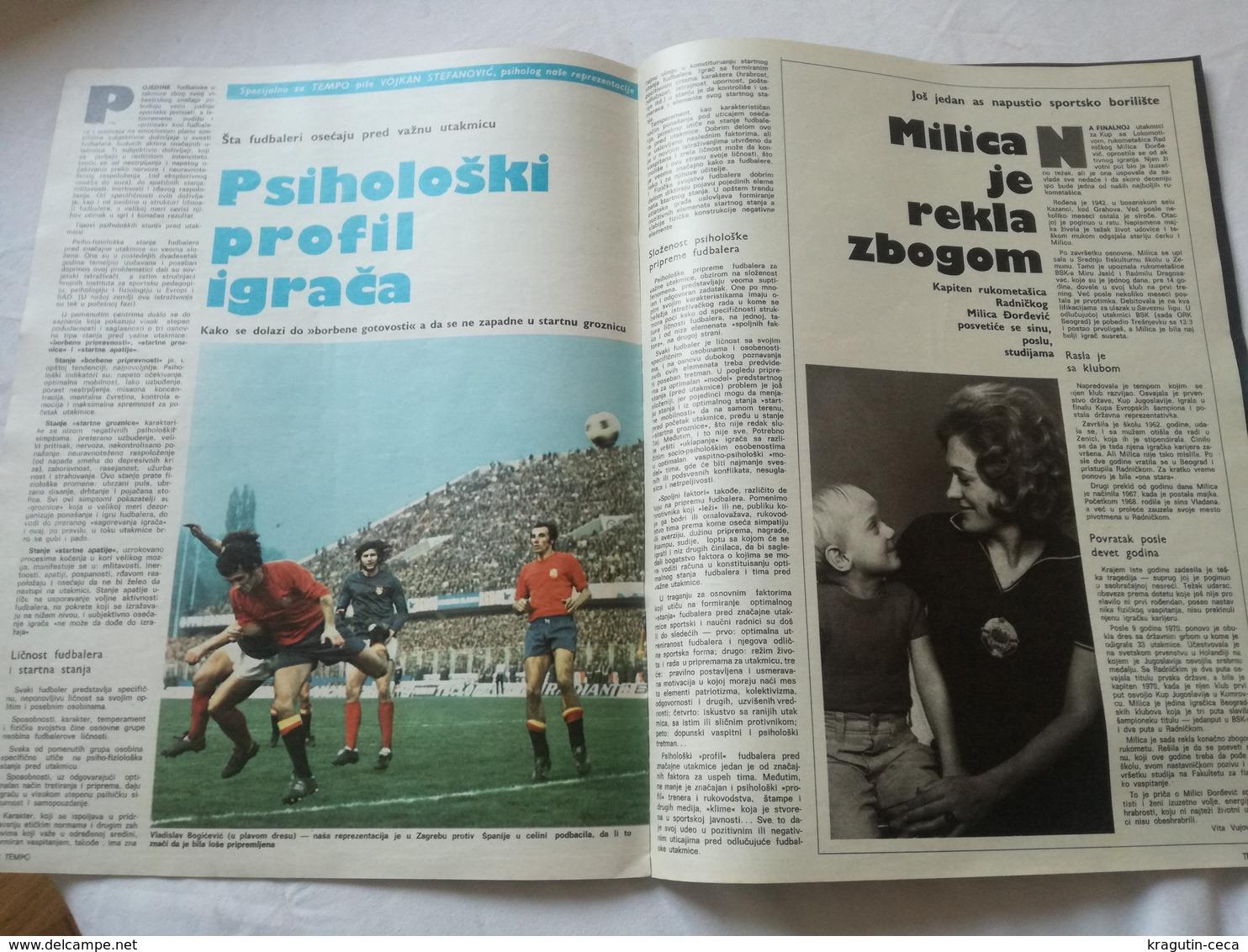 1974 TEMPO YUGOSLAVIA SERBIA SPORT FOOTBALL MAGAZINE NEWSPAPERS BASKETBALL OLYMPIC GAMES VINKO JELOVAC HANDBALL RADNICKI - Deportes