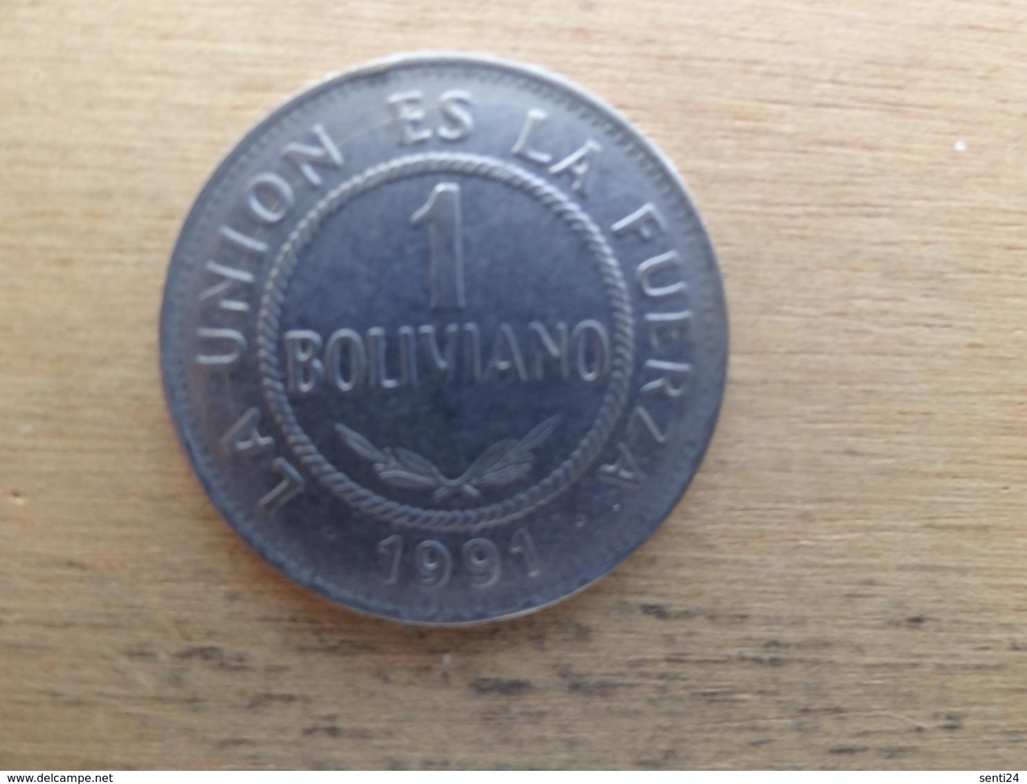 Bolivie  1  Boliviano 1991  Km 205 - Bolivia