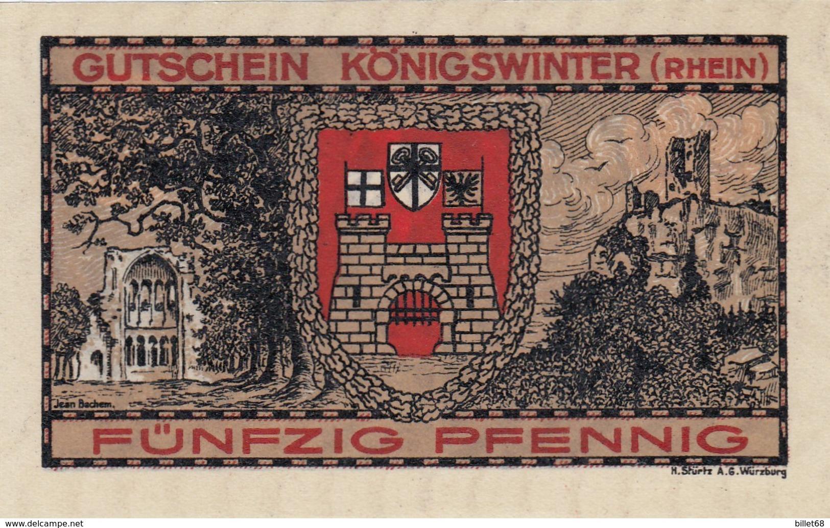 Billet Allemand - 50 Pfennig - Königswinter Am Rhein 1921 - Stadtwappen Et Burgruine, Frau Avec Drache - [11] Emissions Locales