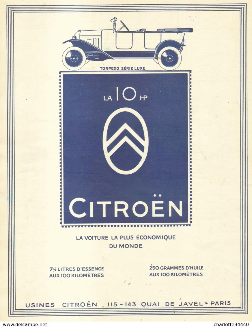 """PUB   """" 10 HP CITROEN """" 1922 ( 4 ) - Transports"""