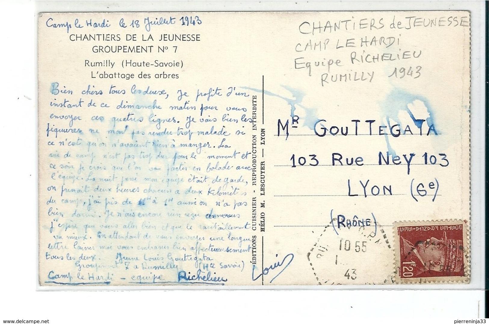 Rumilly ( Haute Savoie ) Chantiers De Jeunesse , Groupement N°7 , L'Abattage Des Arbres - Rumilly