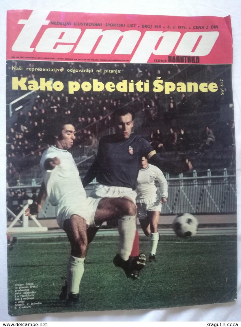 1974 TEMPO YUGOSLAVIA SERBIA SPORT FOOTBALL MAGAZINE NEWSPAPERS BASKETBALL CHAMPIONSHIPS FIGURE SKATING VUJADIN BOSKOV - Otros