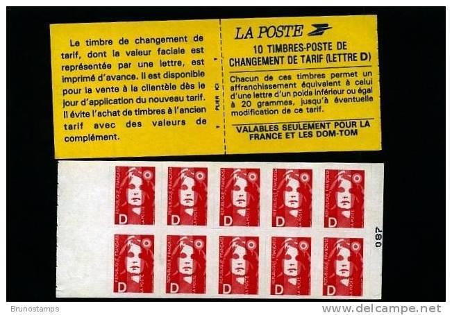 """FRANCE - MARIANNE DE BRIAT CHANGEMENT DE TARIF LETTRE """"D"""" CARNET DE 10 MINT NH - Libretti"""