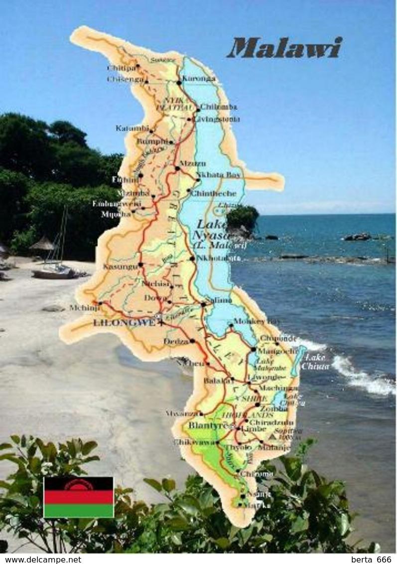 Malawi Country Map New Postcard Landkarte AK - Malawi