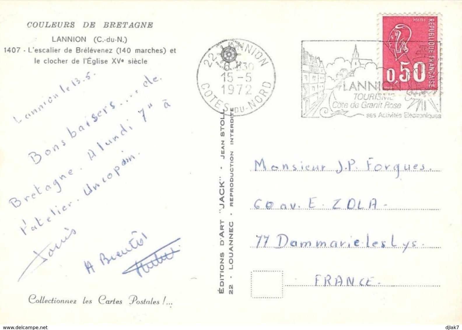 22 Lannion L'escalier De Brélévenez Et Le Clocher De L'Eglise (2 Scans) - Lannion