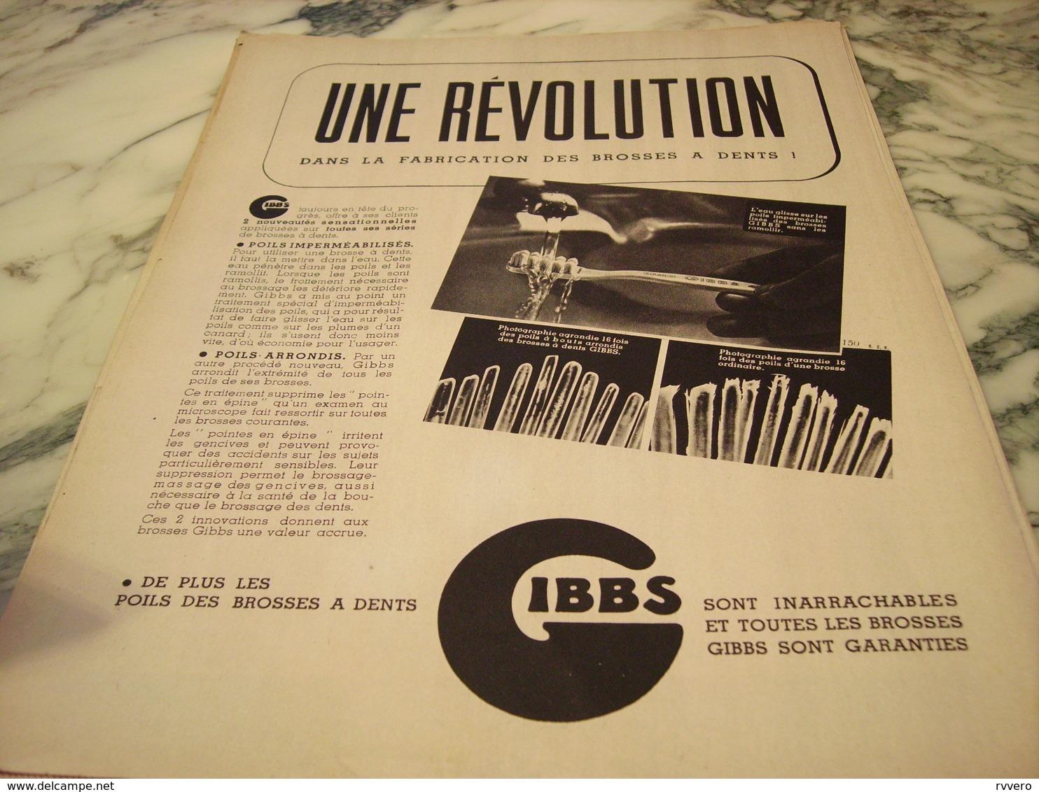 ANCIENNE PUBLICITE REVOLUTION  BROSSE A DENT DE GIBBS   1939 - Perfume & Beauty