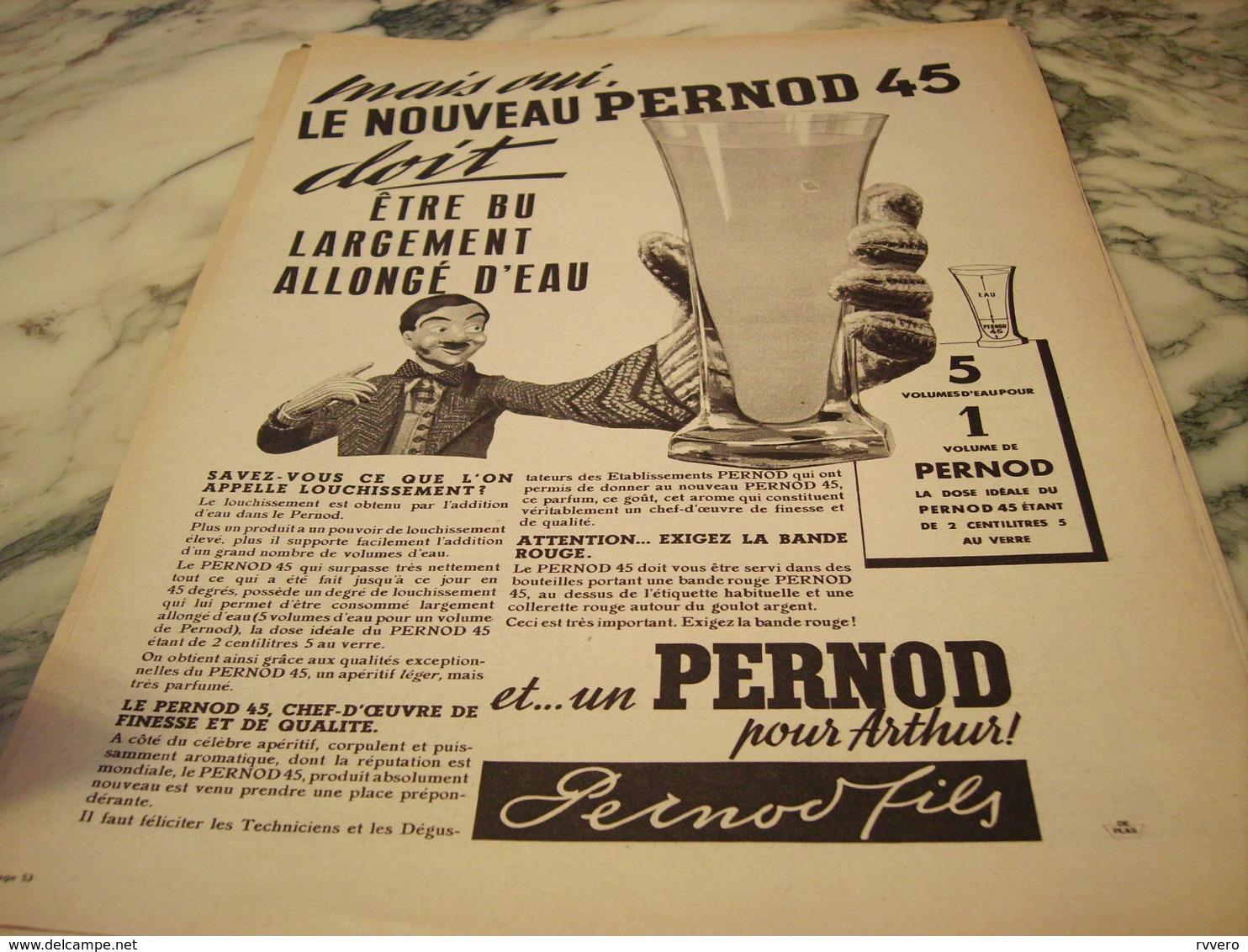 ANCIENNE PUBLICITE LOUCHISSEMENT DU PERNOD 1939 - Alcools