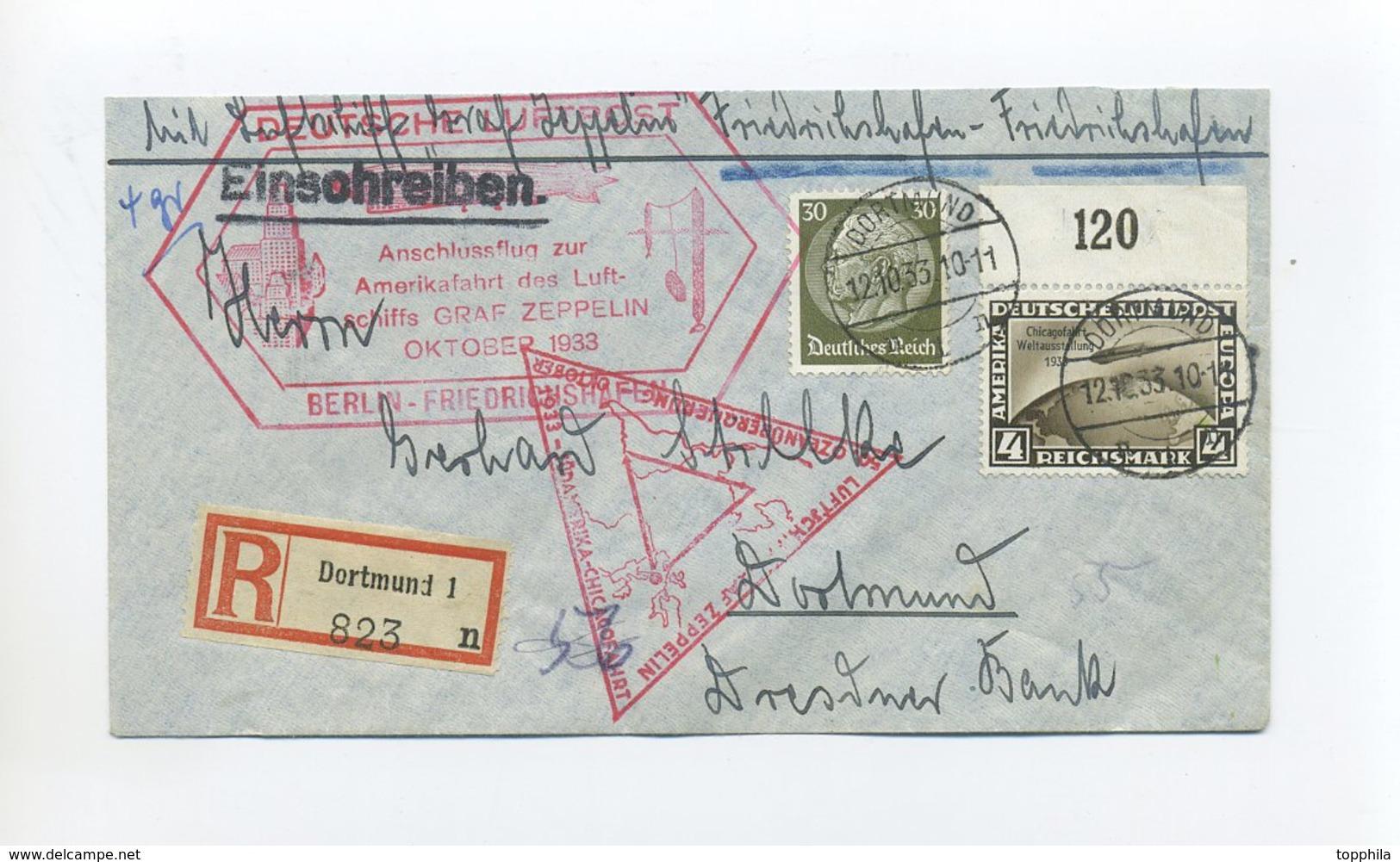 1933 3. Reich Zeppelin R-Brief Chicagofahrt Rundfahrt Anschlussflug Berlin Gute Frankatur 4 Mark MI 498 Oberrand SI 238E - Deutschland