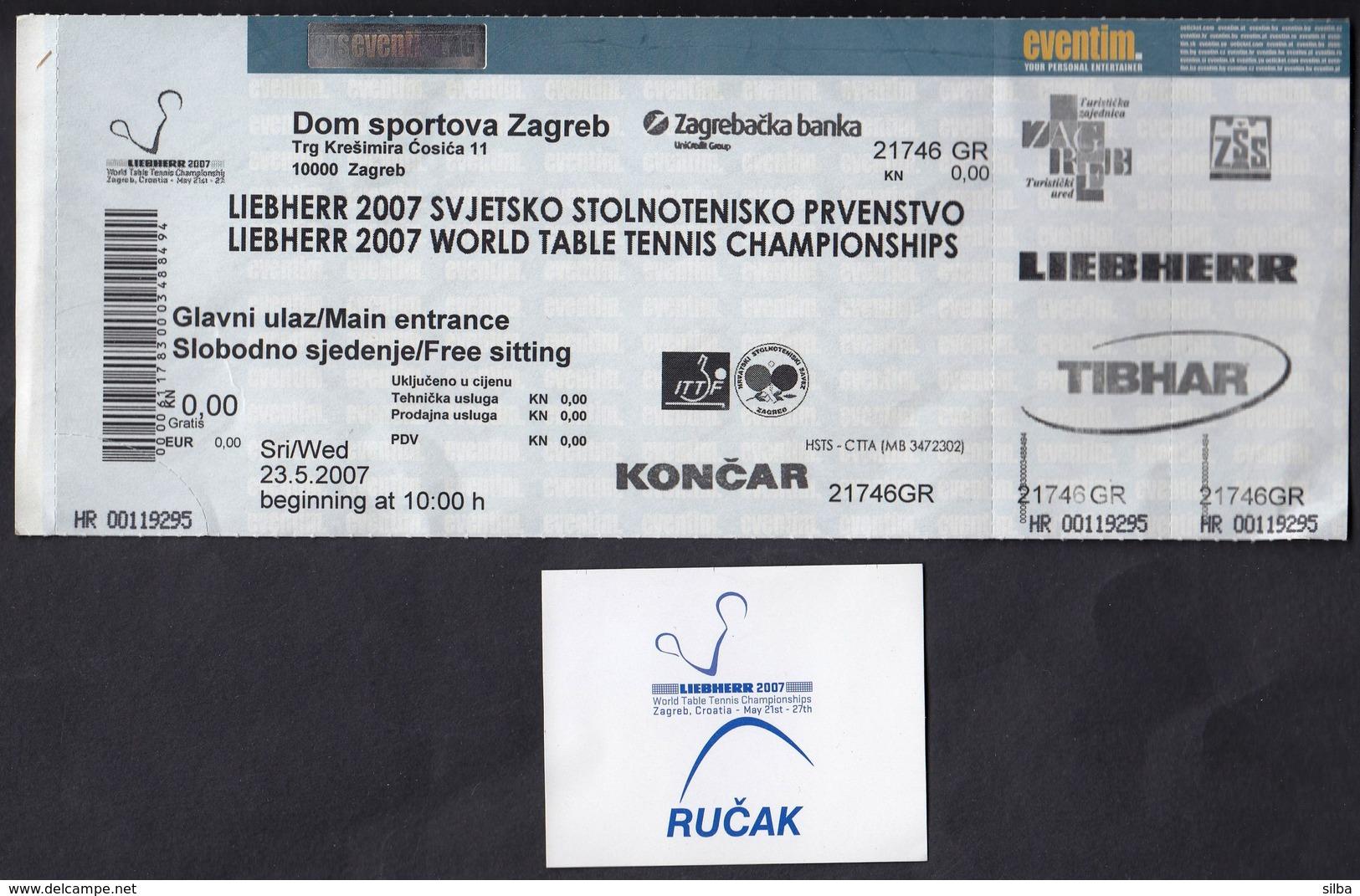 Croatia 2007 / Liebherr World Table Tennis Championships / Ticket + Voucher For Lunch - Tischtennis