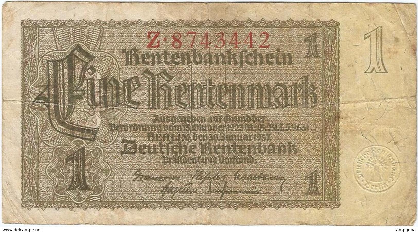 Alemania - Germany 1 Rentenmark 30-1-1937 Pick 173a 7 Dígitos Ref 2985-2 - [ 4] 1933-1945 : Terzo  Reich