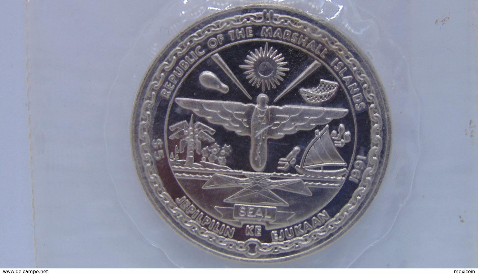 Marshall Islands 5 Dollars BU Crown Size Coins 1991 Shuttle Columbia - Micronesia