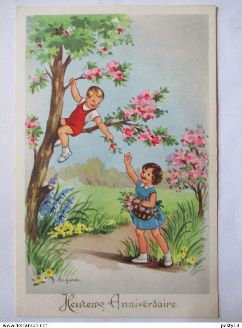 """Illustration J. Lagarde - Enfants Jouant - """"Heureux Anniversaire"""" - CPSM 9x14   TBE - Autres Illustrateurs"""