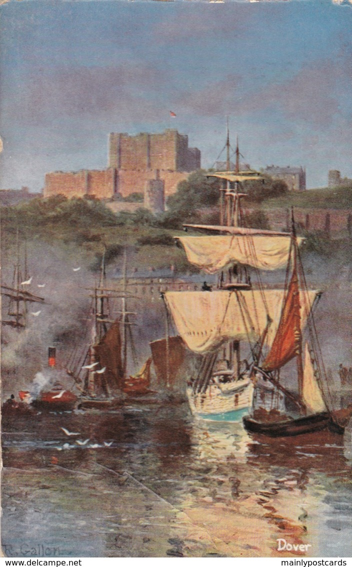 AN83 Dover, Artist Signed R. Gallon - Harbour Scene And Castle - Dover