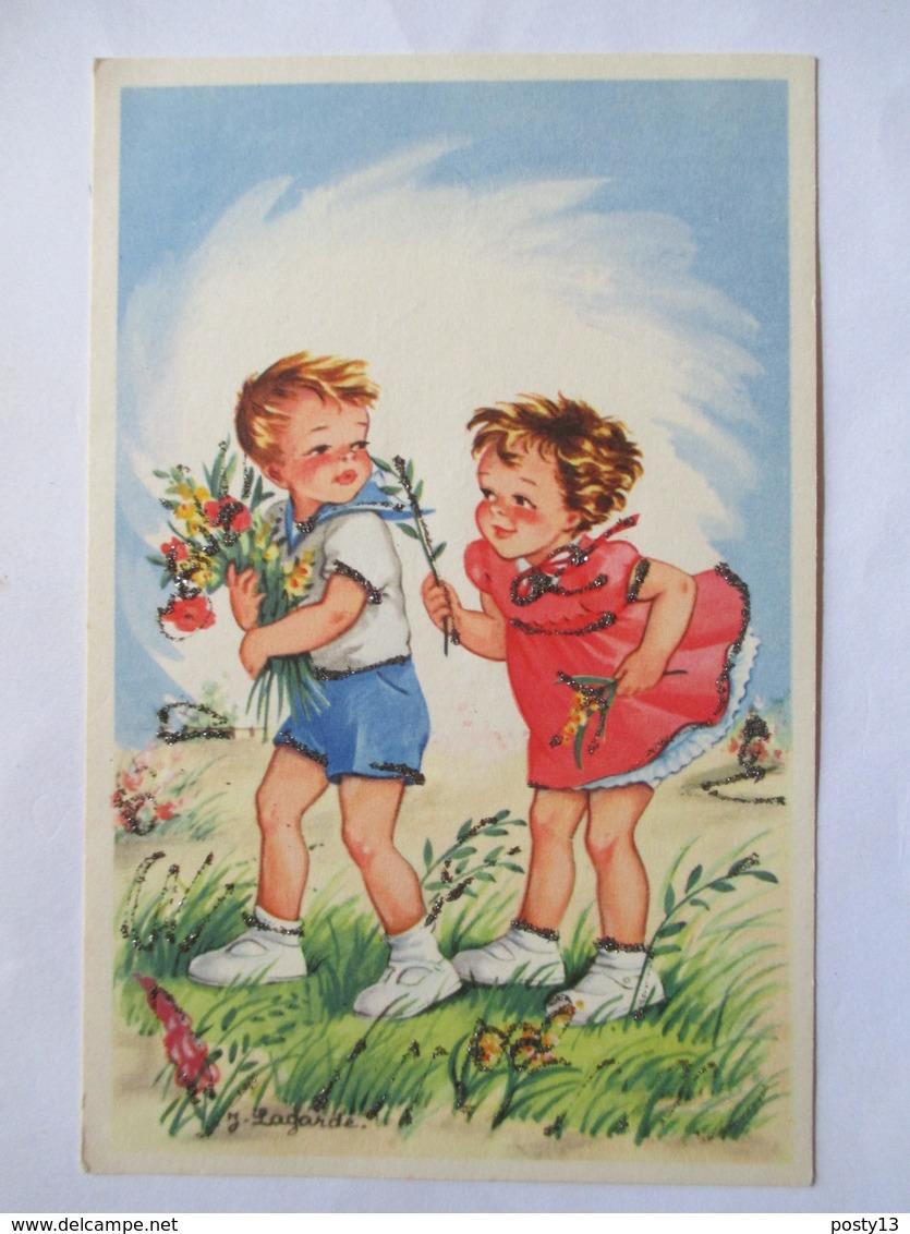Illustration J. Lagarde - Couple D'Enfants - Bouquet De Fleurs - Paillettes  - CPSM 9x14   TBE - Illustrateurs & Photographes