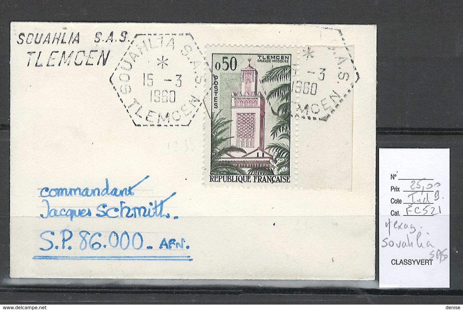 Algerie - Lettre  - Cachet Hexagonal SOUAHLIA SAS -  Marcophilie - Algeria (1924-1962)