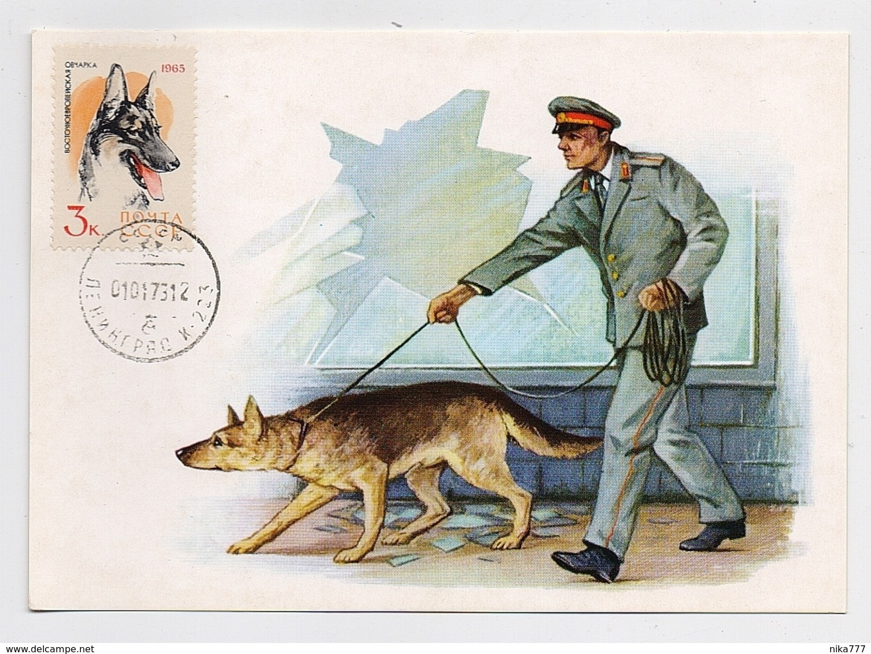 CARTE MAXIMUM CM Card USSR RUSSIA Fauna Dog Militia Police - 1923-1991 UdSSR