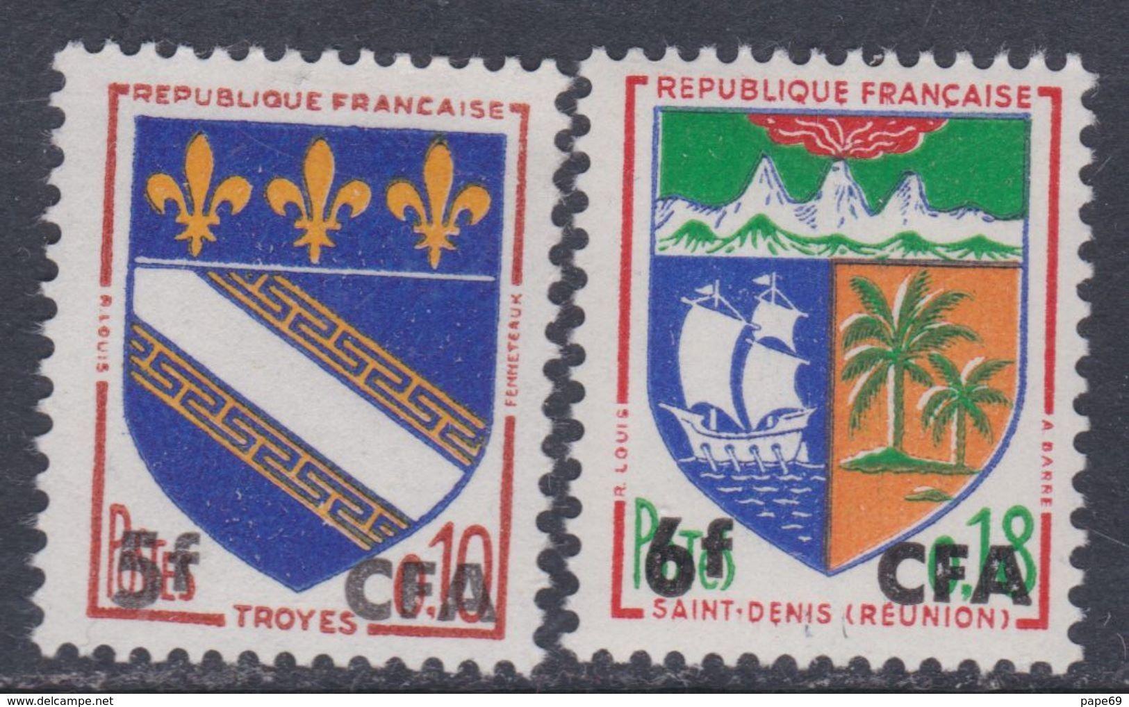 Réunion N° 346A / 46B X Partie De Série : Les 2 Valeurs Surchargées CFA,  Trace De Charnière Sinon TB - Neufs