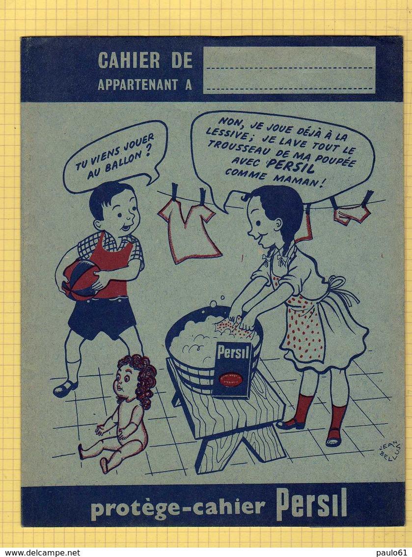 PROTEGE CAHIER  :Je Joue A La Lessive Avec PERSIL   Bleu  Enfants - Protège-cahiers