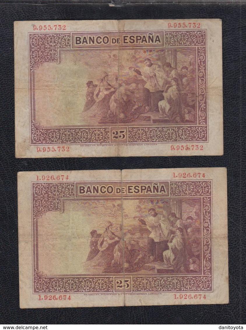 EDIFIL 325.  25 PTAS 12 DE OCTUBRE DE 1926  SIN SERIE.  LOTE DE 2 BILLETES. - [ 1] …-1931 : Eerste Biljeten (Banco De España)