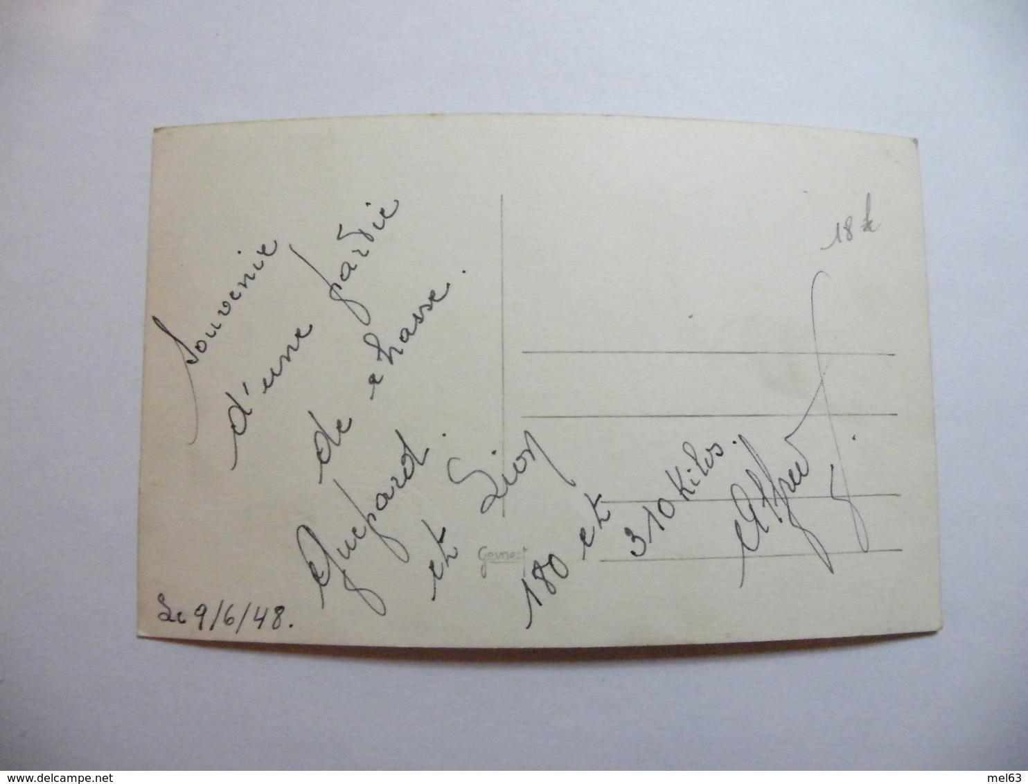 A466. CPA. Rare Carte Photo.Partie De Chasse.Guépard & Lion.180 Et 310 Kilos.. Beau Plan Animé. écrite 1948 - Lions