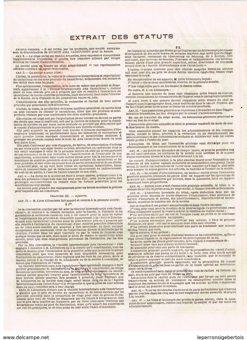 Titre Ancien - Société Asia Caoutchouc Pour La Russie - Titre De 1910 - N° 04775 - Russie